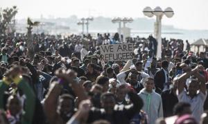 African migrants protest in Tel Aviv.